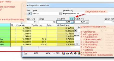 Abb.04 Artikelpreis und Rabatt festlegen
