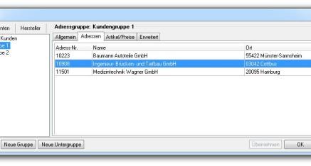 Abb.02: Fenster Adressgruppen - Registerkarte Adressen