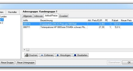Abb.03: Fenster Adressgruppen - Registerkarte Artikel/Preise