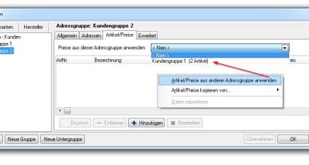 Abb.05 Fenster Adressgruppen - Popup-Dialog - Artikel/Preise verlinken