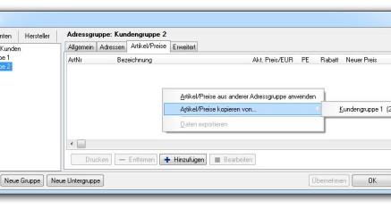 Abb.06 Fenster Adressgruppen - Popup-Dialog - Artikel/Preise kopieren
