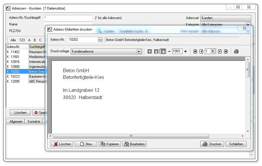 Adressen - Kunden - Centaso Business-Software