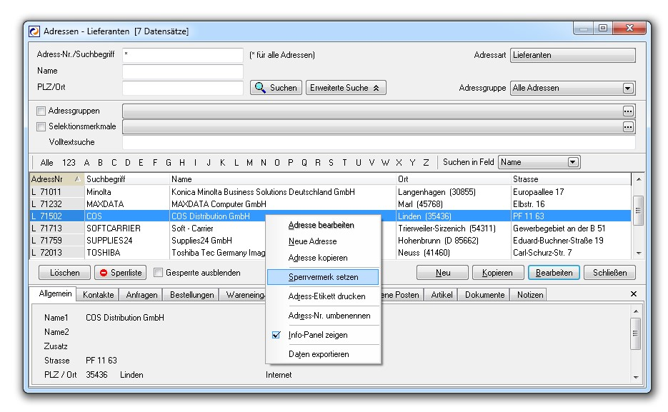 Adressen - Lieferanten - Centaso Business-Software