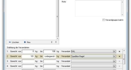 Abb.02: Fenster Versandarten - Versandgruppen