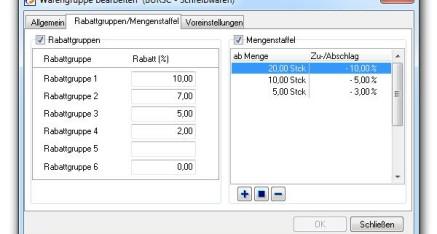 Abb.03: Fenster Warengruppen bearbeiten - Registerkarte Rabattgruppen/Mengenstaffel