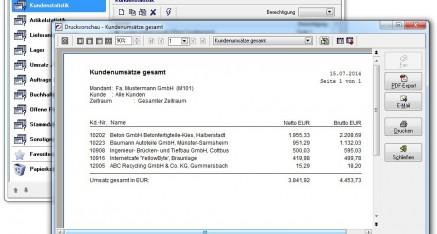 Abb.03: Druckvorschau mit weiteren Ausgabemöglichkeiten als PDF-Datei oder E-Mail Versand