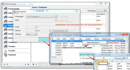 Abb.06: Statistik exportieren - Daten ausgeben in verschiedenen Formaten