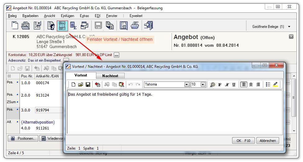 Belegbearbeitung Centaso Business Software